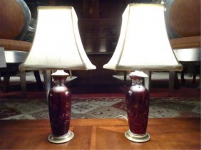 Pair Small Ruby Cut To Clear Crystal Lamps, Brass
