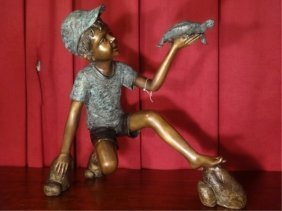 """Large Bronze Sculpture, Boy With Turtle, Approx 22""""h X"""