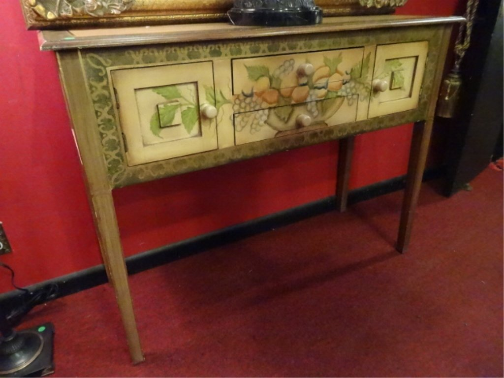 PAINTED WOOD CONSOLE TABLE, PAINTED FRUIT AND FOLIAGE, - 3