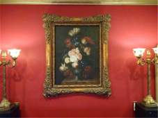 LARGE OIL ON CANVAS PAINTING, FLORAL STILL LIFE, SIGNED