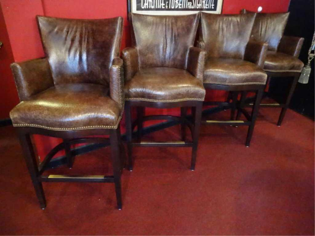 4 Hancock And Moore Ostrich Skin Barstools Bar Height