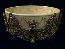 LARGE ROCOCO STYLE PORCELAIN AND BRONZE BOWL PAINTED