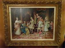 LARGE OIL PAINTING ON CANVAS 18TH C COURT SCENE