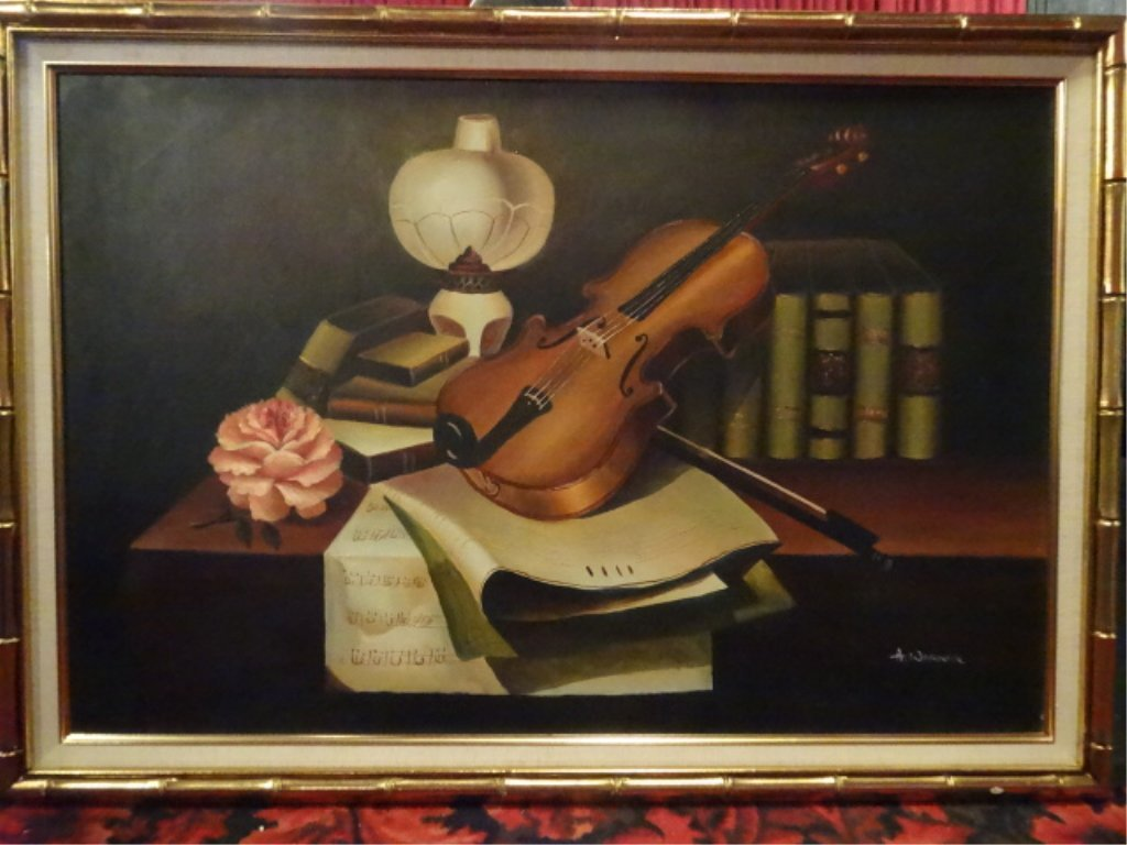A. WARNER SIGNED OIL ON CANVAS PAINTING, STILL LIFE