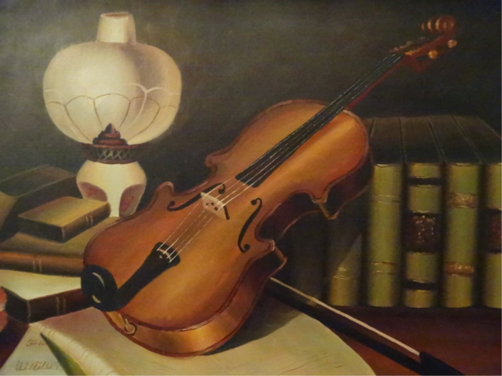 A. WARNER SIGNED OIL ON CANVAS PAINTING, STILL LIFE - 3