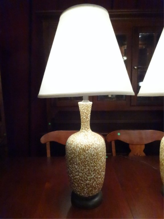 PAIR MID CENTURY MODERN CERAMIC LAMPS, TAN AND WHITE, - 2