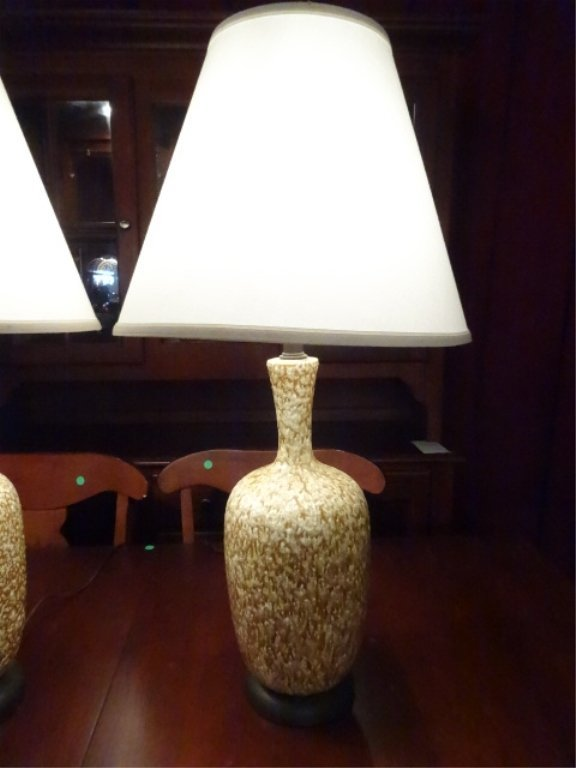 PAIR MID CENTURY MODERN CERAMIC LAMPS, TAN AND WHITE, - 3