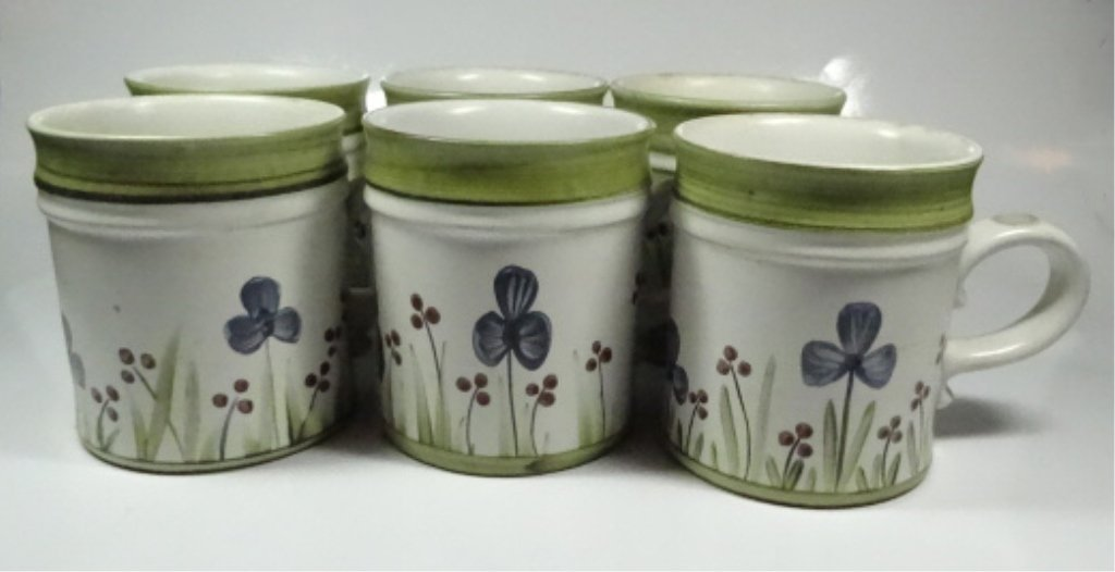 6 DENBY STONEWARE MUGS, MADE IN ENGLAND, FLORAL DESIGN,