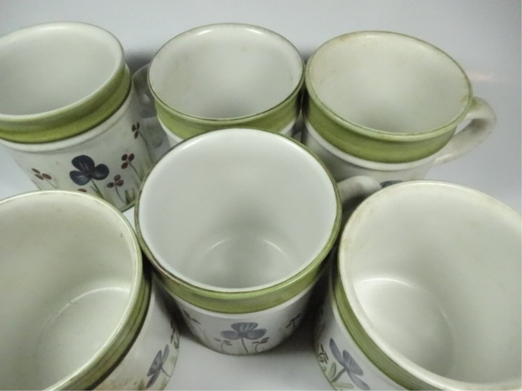 6 DENBY STONEWARE MUGS, MADE IN ENGLAND, FLORAL DESIGN, - 5