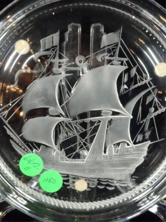 LALIQUE CRYSTAL ASHTRAY, SANTA MARIA CLIPPER SHIP, - 2