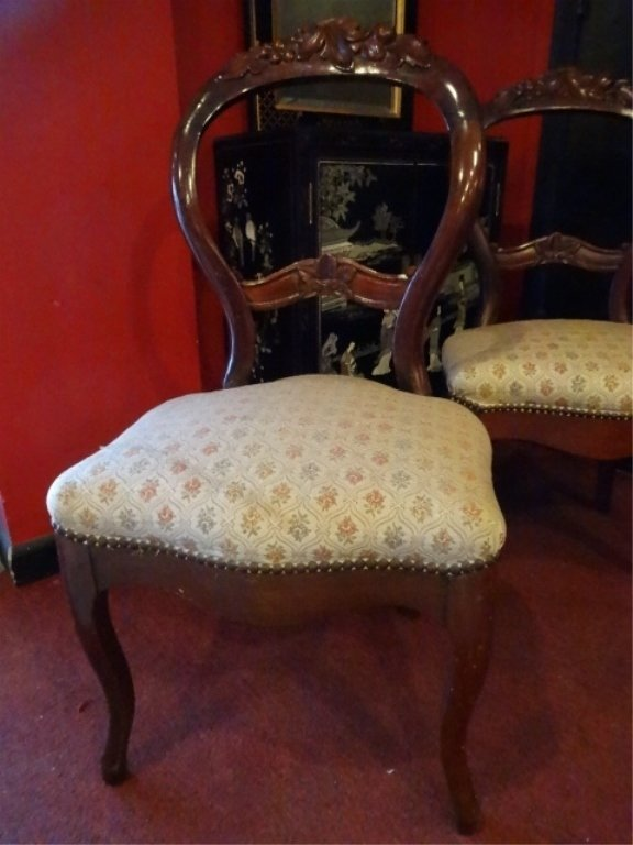 PAIR VICTORIAN PARLOR CHAIRS, CARVED WOOD FRAMES, - 3