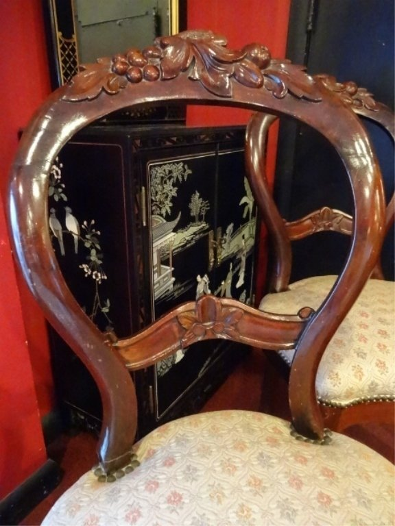 PAIR VICTORIAN PARLOR CHAIRS, CARVED WOOD FRAMES, - 4
