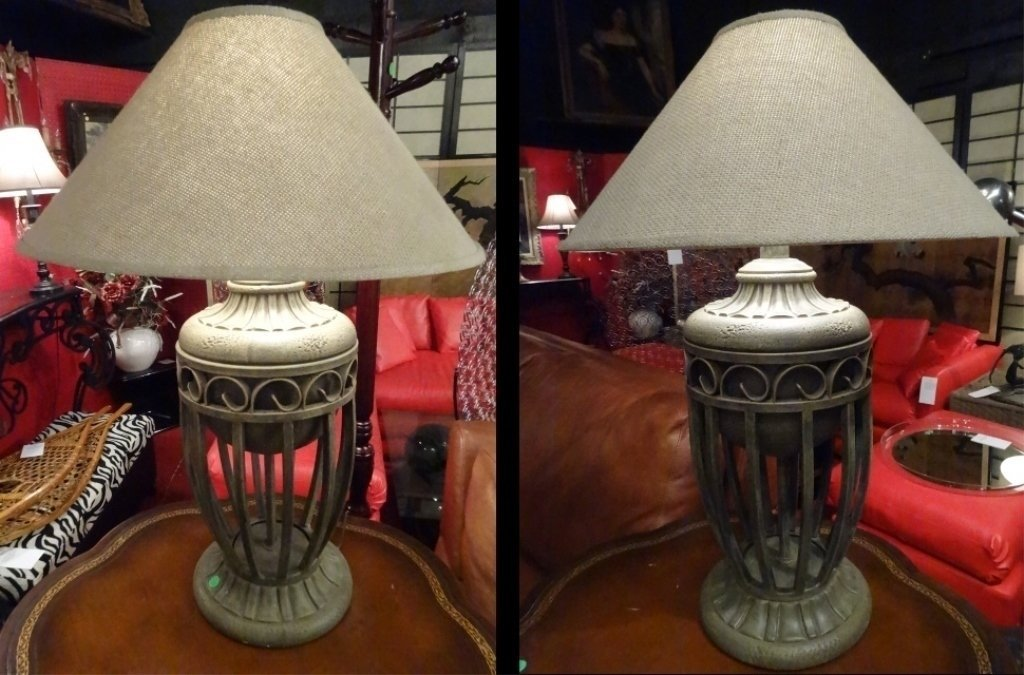 """PAIR MODERN METAL URN STYLE LAMPS, APPROX 28""""H,"""