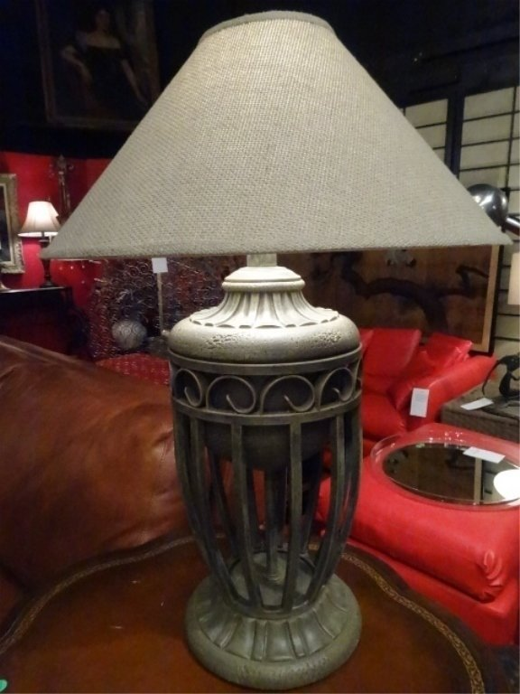 """PAIR MODERN METAL URN STYLE LAMPS, APPROX 28""""H, - 2"""