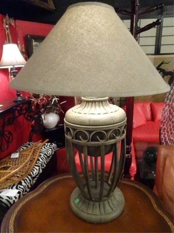 """PAIR MODERN METAL URN STYLE LAMPS, APPROX 28""""H, - 3"""