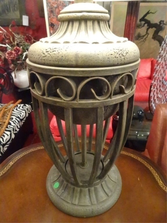 """PAIR MODERN METAL URN STYLE LAMPS, APPROX 28""""H, - 4"""