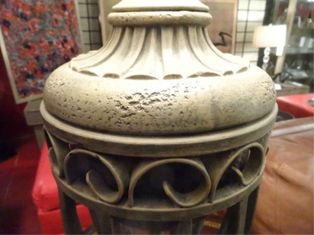 """PAIR MODERN METAL URN STYLE LAMPS, APPROX 28""""H, - 6"""