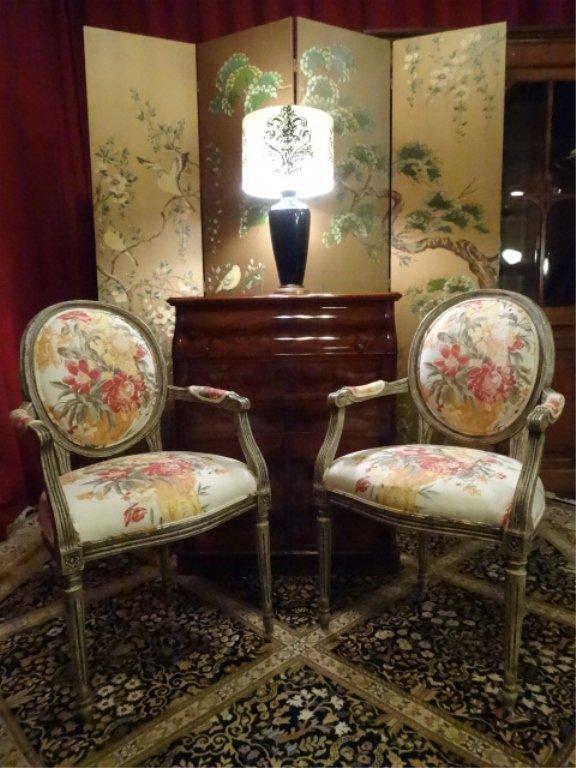 PAIR LOUIS XVI STYLE BALLOON BACK ARMCHAIRS, #2 OF