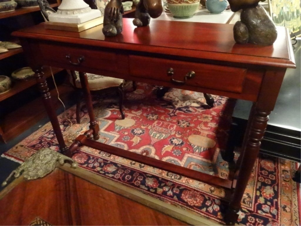 WOOD CONSOLE TABLE, 2 DRAWERS, BRASS PULLS, EXCELLENT