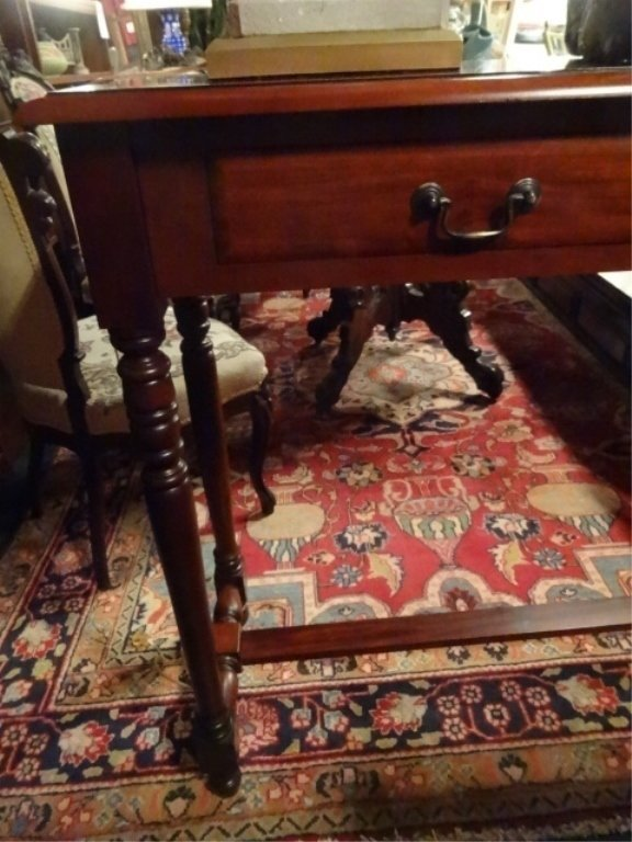 WOOD CONSOLE TABLE, 2 DRAWERS, BRASS PULLS, EXCELLENT - 2