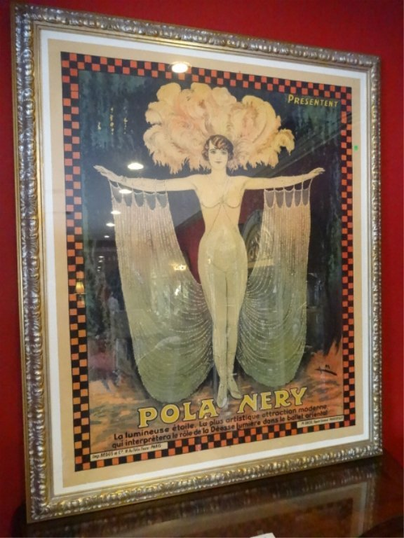 HUGE VINTAGE POLA NERY FRENCH COLOR LITHOGRAPH ADVERTIS