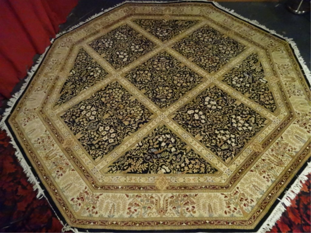 OCTAGONAL WOOL RUG, GOLD BORDER AND FOLIATE DESIGNS, - 2