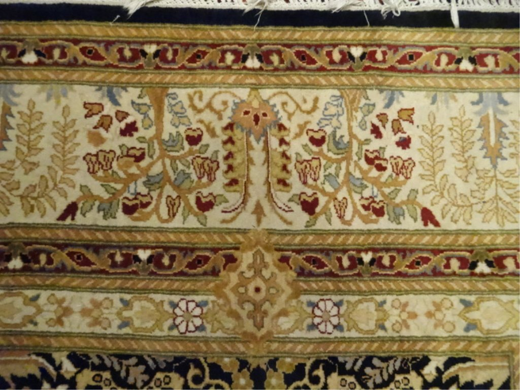 OCTAGONAL WOOL RUG, GOLD BORDER AND FOLIATE DESIGNS, - 7