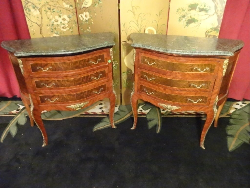 PAIR LOUIS XV STYLE BOMBE CHESTS, 3 DRAWERS, GILT METAL