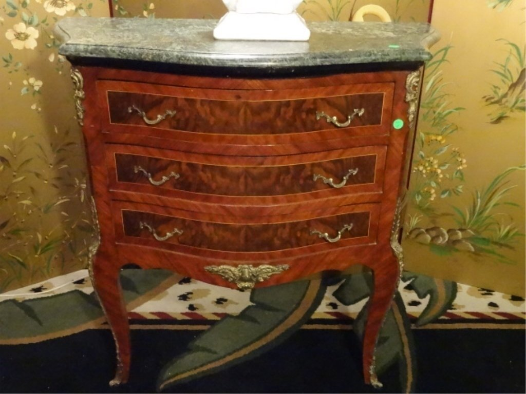 PAIR LOUIS XV STYLE BOMBE CHESTS, 3 DRAWERS, GILT METAL - 8