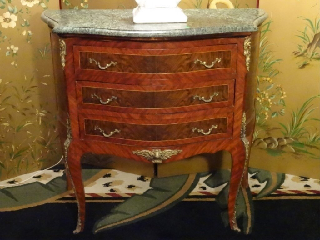 PAIR LOUIS XV STYLE BOMBE CHESTS, 3 DRAWERS, GILT METAL - 9