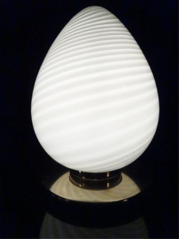 1970's MURANO SWIRL GLASS EGG LAMP, WHITE GLASS WITH - 2