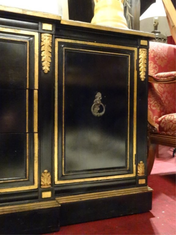 NEOCLASSICAL SIDEBOARD, BLACK AND GOLD FINISH, 3 CENTER - 3