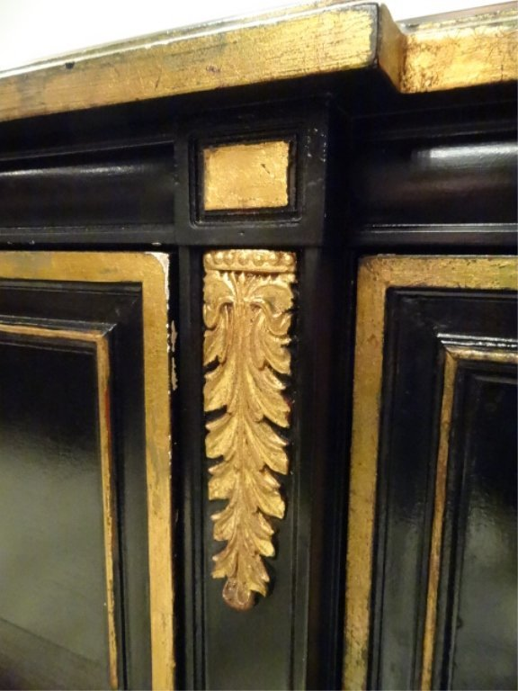 NEOCLASSICAL SIDEBOARD, BLACK AND GOLD FINISH, 3 CENTER - 5