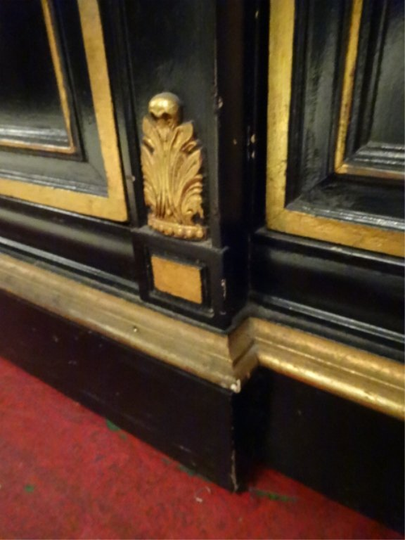 NEOCLASSICAL SIDEBOARD, BLACK AND GOLD FINISH, 3 CENTER - 7