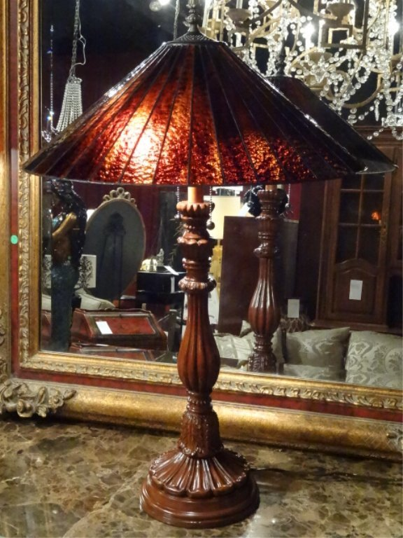 TALL TIFFANY STYLE STAINED LEADED GLASS LAMP, # 2 OF