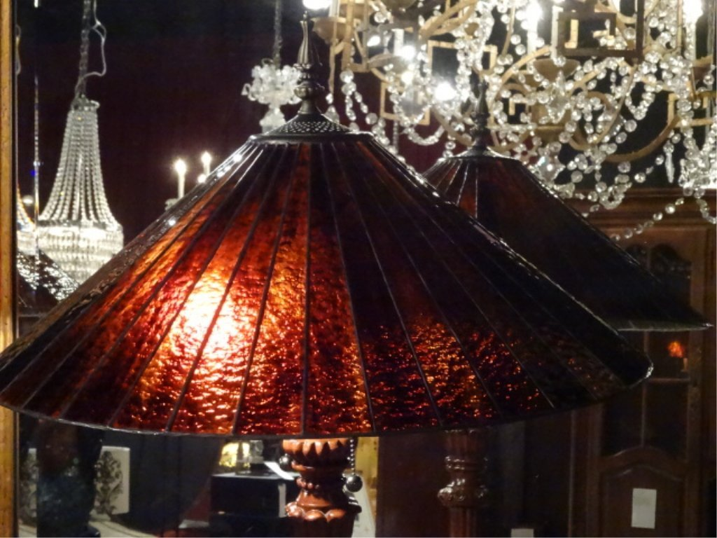 TALL TIFFANY STYLE STAINED LEADED GLASS LAMP, # 2 OF - 3