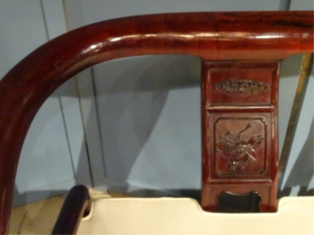 CHINESE ROSEWOOD LOVESEAT SETTEE, WITH CARVED RELIEF - 3