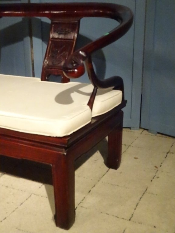 CHINESE ROSEWOOD LOVESEAT SETTEE, WITH CARVED RELIEF - 5