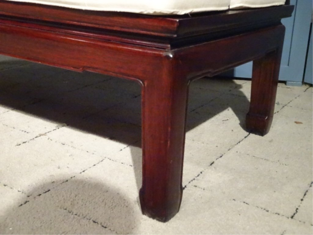 CHINESE ROSEWOOD LOVESEAT SETTEE, WITH CARVED RELIEF - 6