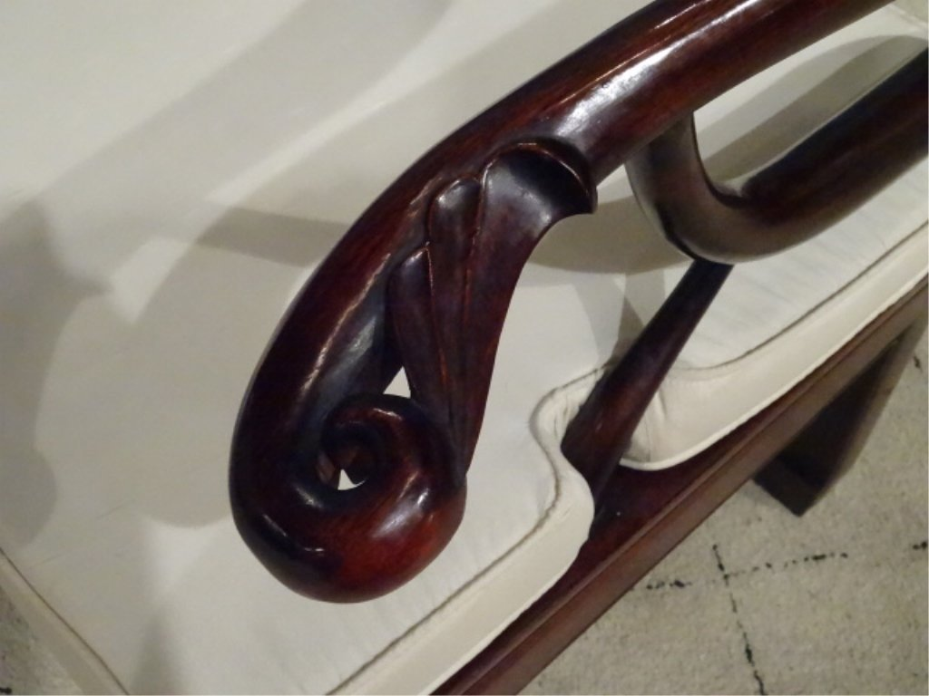 CHINESE ROSEWOOD LOVESEAT SETTEE, WITH CARVED RELIEF - 7