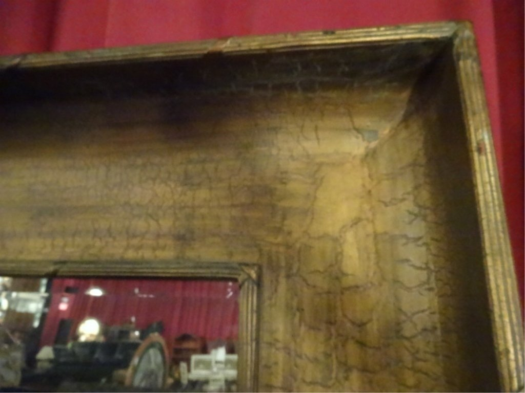 HUGE 6.5 FT TALL MIRROR IN GOLD FRAME WITH BANDED REED - 2