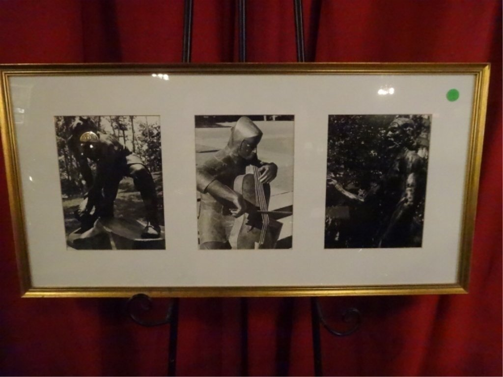 PHOTOGRAPH TRIPTYCH, BRONZE SCULPTURES, ARTIST UNKNOWN,