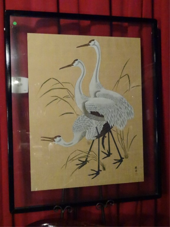 LARGE CHINESE PAINTING ON PAPER, 3 CRANES, CHOPMARK