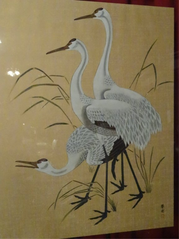 LARGE CHINESE PAINTING ON PAPER, 3 CRANES, CHOPMARK - 2