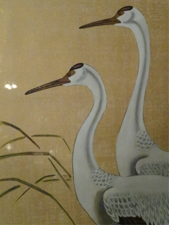 LARGE CHINESE PAINTING ON PAPER, 3 CRANES, CHOPMARK - 3