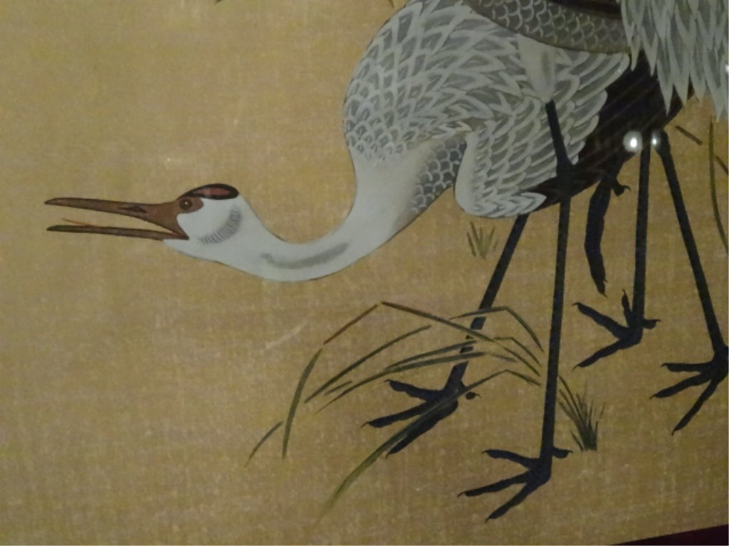 LARGE CHINESE PAINTING ON PAPER, 3 CRANES, CHOPMARK - 4
