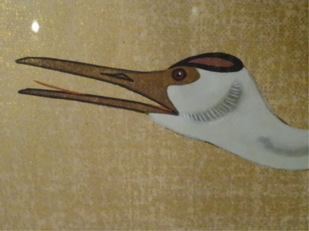 LARGE CHINESE PAINTING ON PAPER, 3 CRANES, CHOPMARK - 5