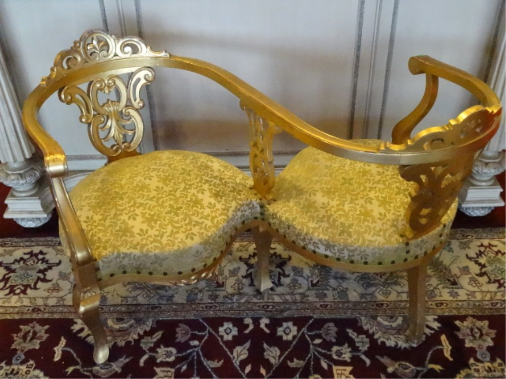 LOUIS XV STYLE GILT TETE A TETE, MID CENTURY, WITH GOLD