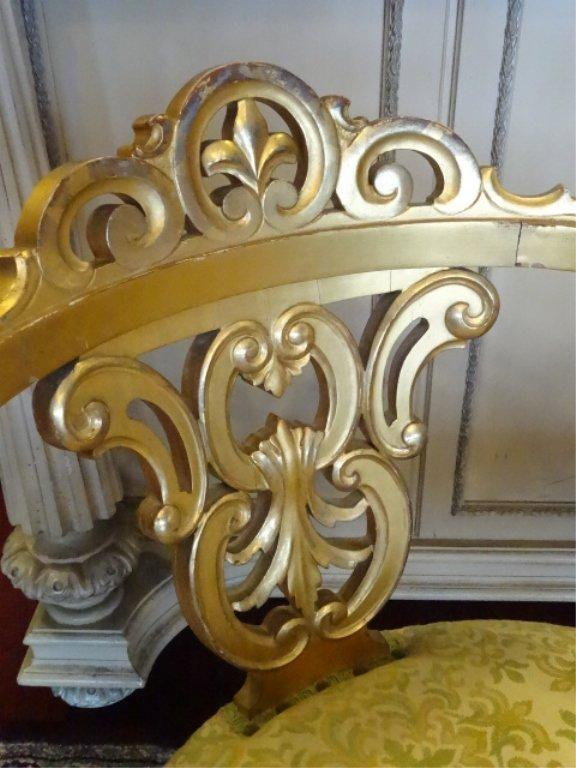 LOUIS XV STYLE GILT TETE A TETE, MID CENTURY, WITH GOLD - 5