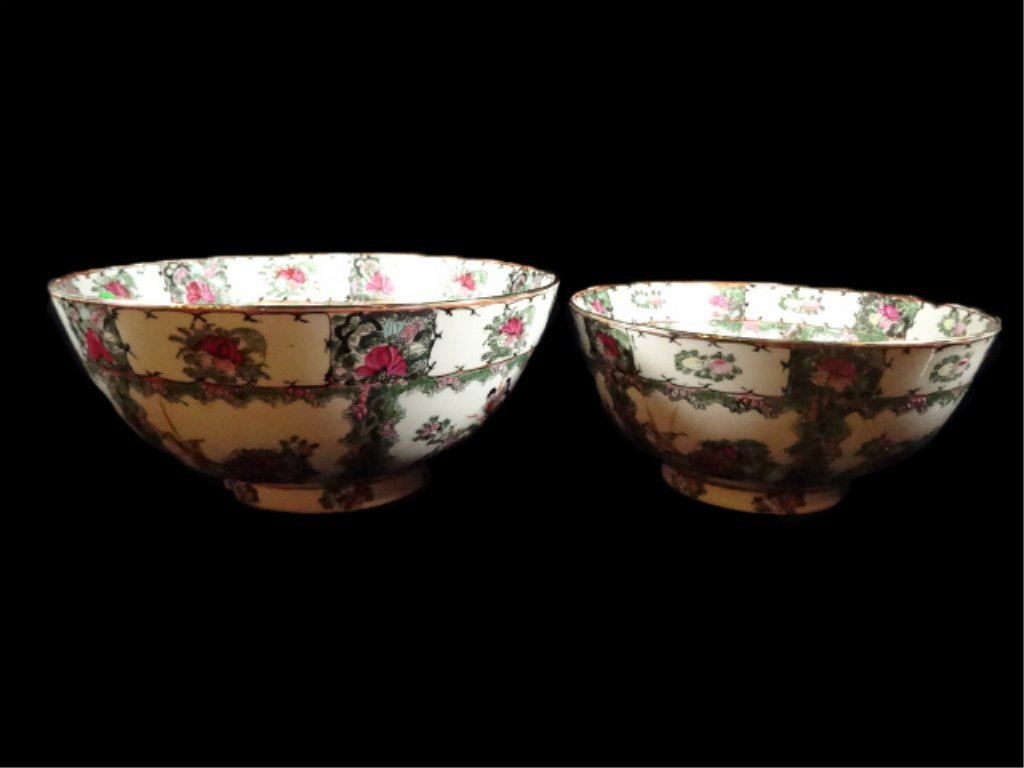 """2 CHINESE BOWLS, LARGER APPROX 6.25""""H X 14 1/8"""","""